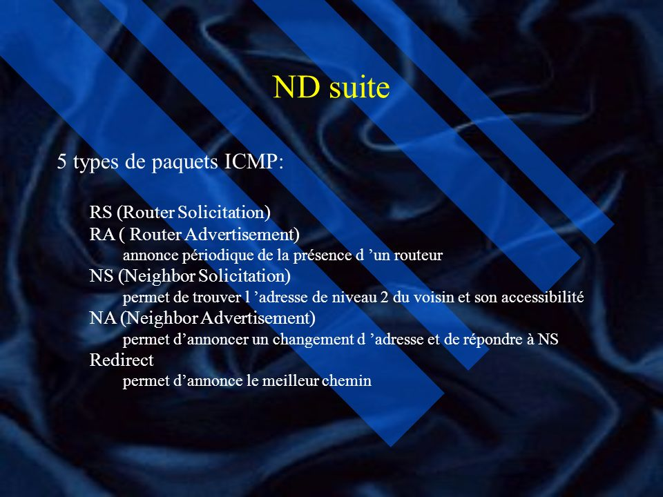 ND suite 5 types de paquets ICMP: RS (Router Solicitation)