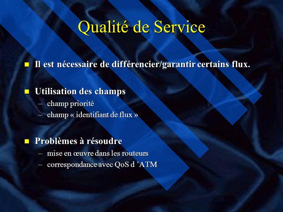 Qualité de Service Il est nécessaire de différencier/garantir certains flux. Utilisation des champs.