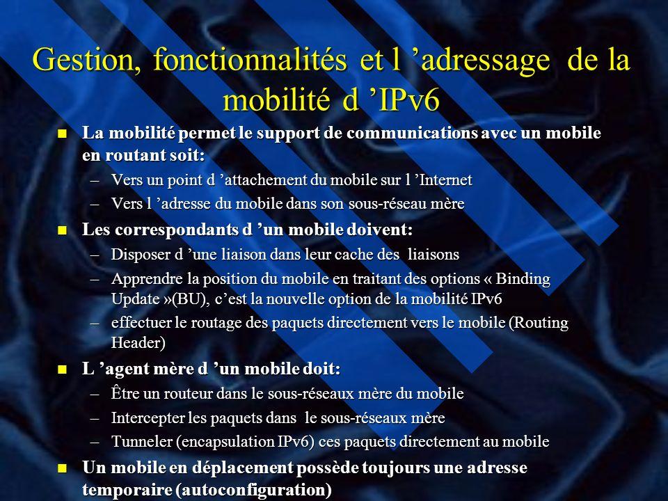 Gestion, fonctionnalités et l 'adressage de la mobilité d 'IPv6