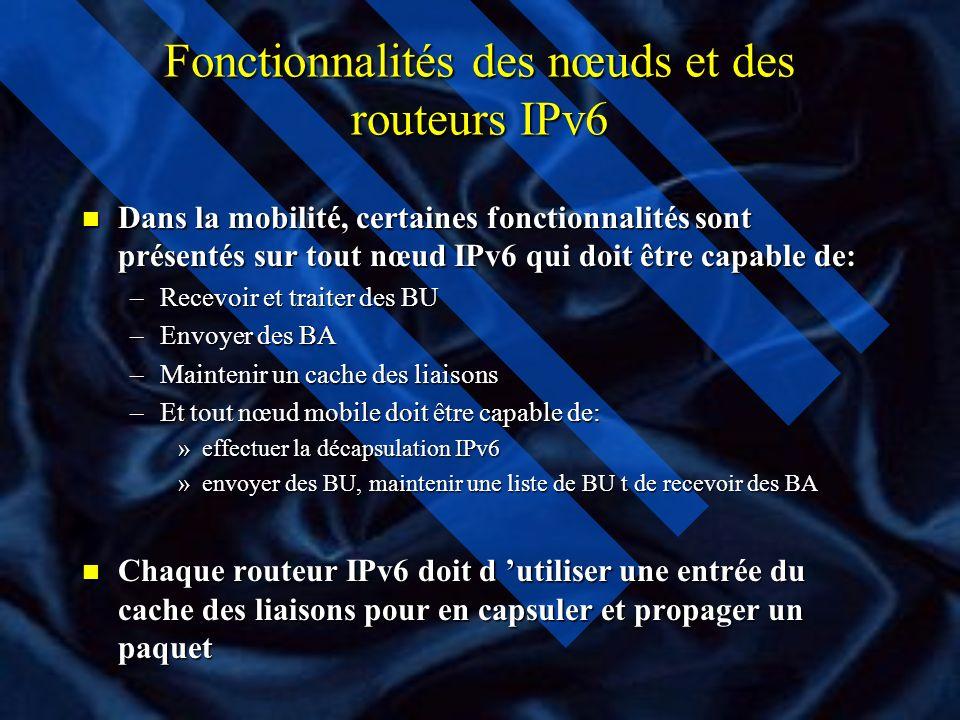 Fonctionnalités des nœuds et des routeurs IPv6