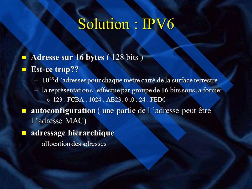 Solution : IPV6 Adresse sur 16 bytes ( 128 bits ) Est-ce trop