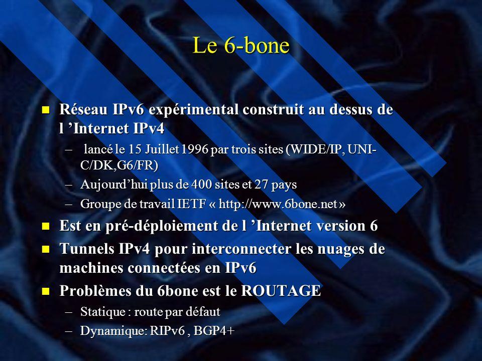 Le 6-bone Réseau IPv6 expérimental construit au dessus de l 'Internet IPv4. lancé le 15 Juillet 1996 par trois sites (WIDE/IP, UNI-C/DK,G6/FR)