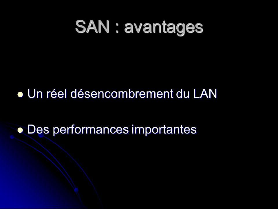 SAN : avantages Un réel désencombrement du LAN