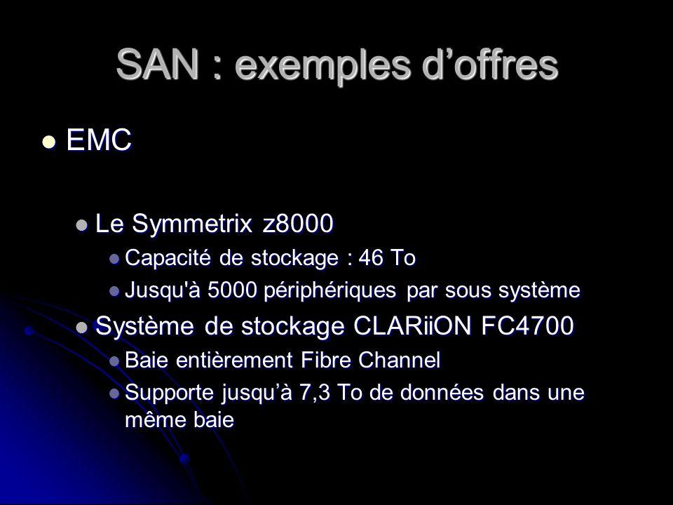 SAN : exemples d'offres