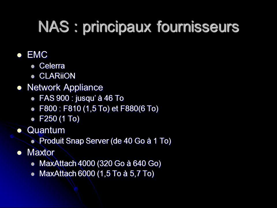 NAS : principaux fournisseurs