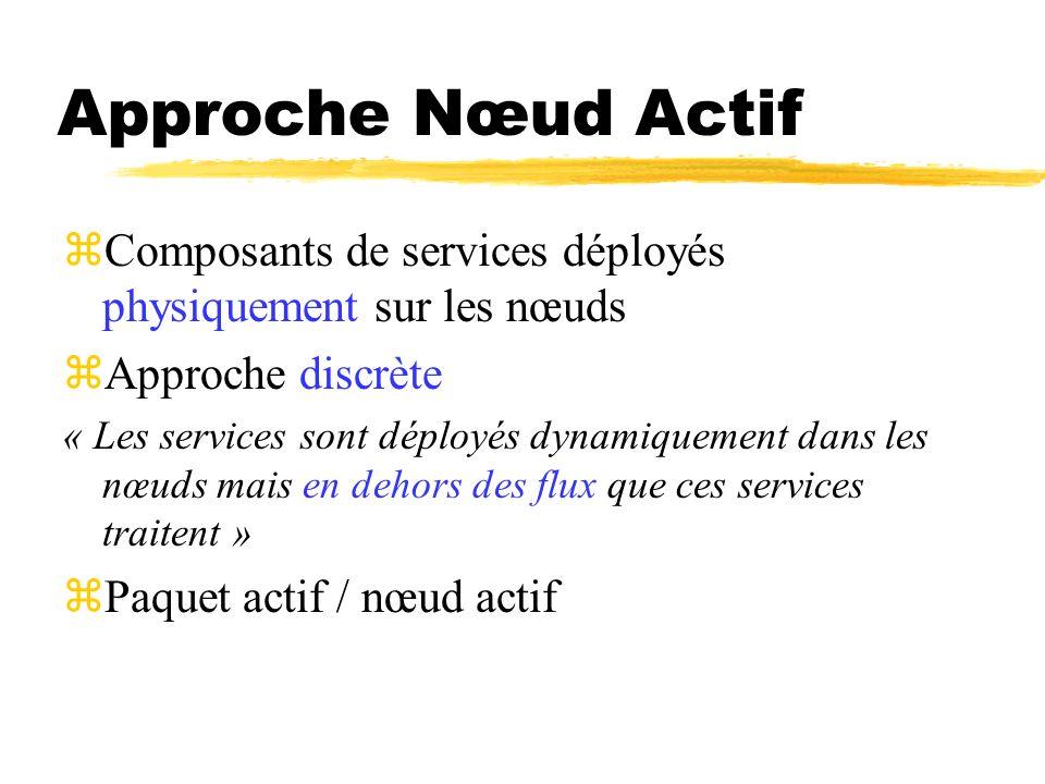 Approche Nœud Actif Composants de services déployés physiquement sur les nœuds. Approche discrète.