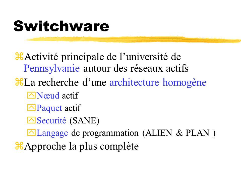 Switchware Activité principale de l'université de Pennsylvanie autour des réseaux actifs. La recherche d'une architecture homogène.