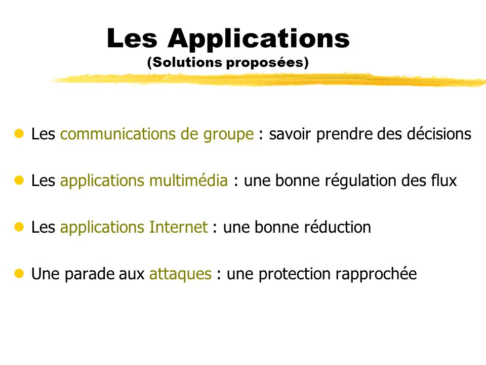 Les Applications (Solutions proposées)