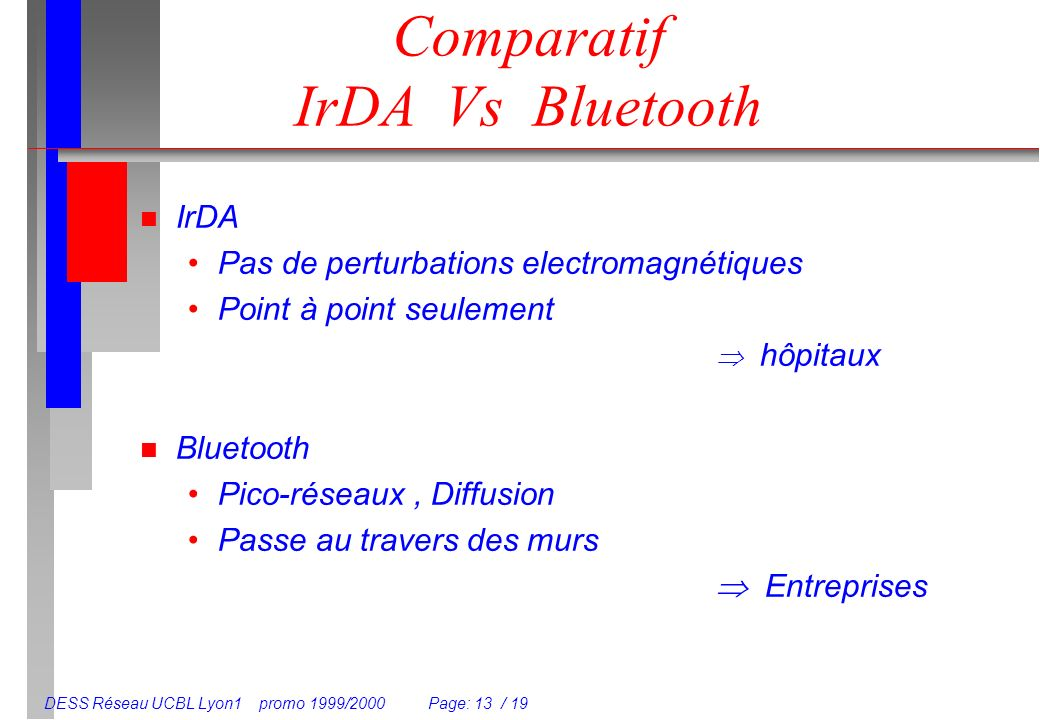 Comparatif IrDA Vs Bluetooth