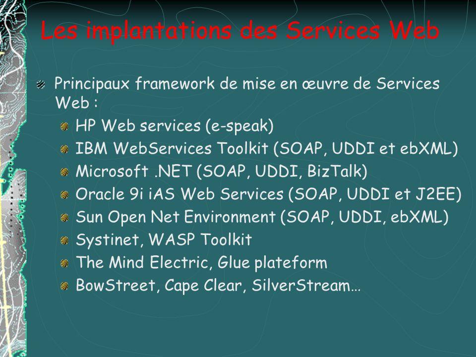 Les implantations des Services Web