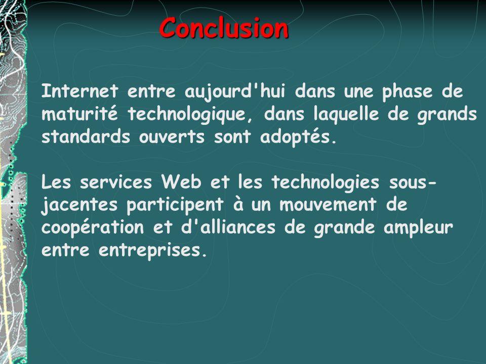 Conclusion Internet entre aujourd hui dans une phase de maturité technologique, dans laquelle de grands standards ouverts sont adoptés.