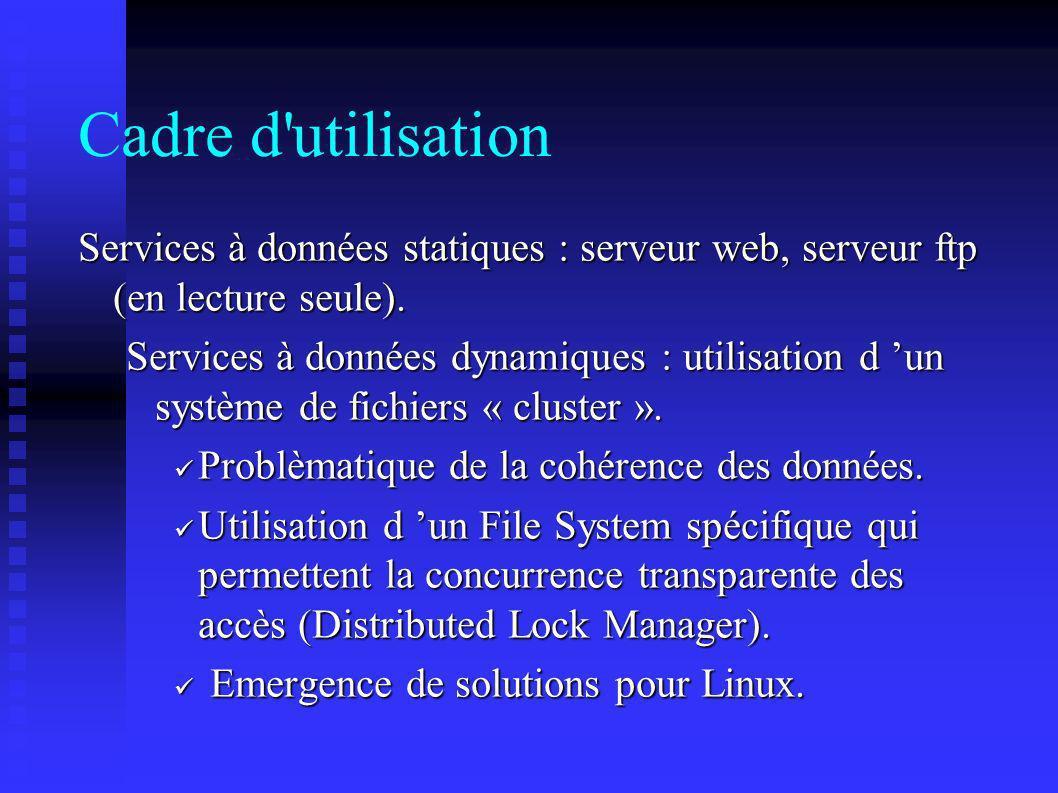 Cadre d utilisation Services à données statiques : serveur web, serveur ftp (en lecture seule).