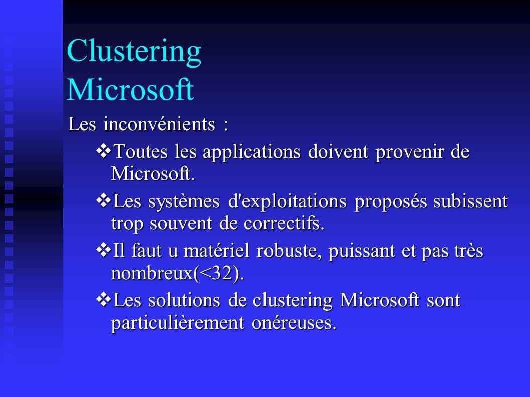 Clustering Microsoft Les inconvénients :