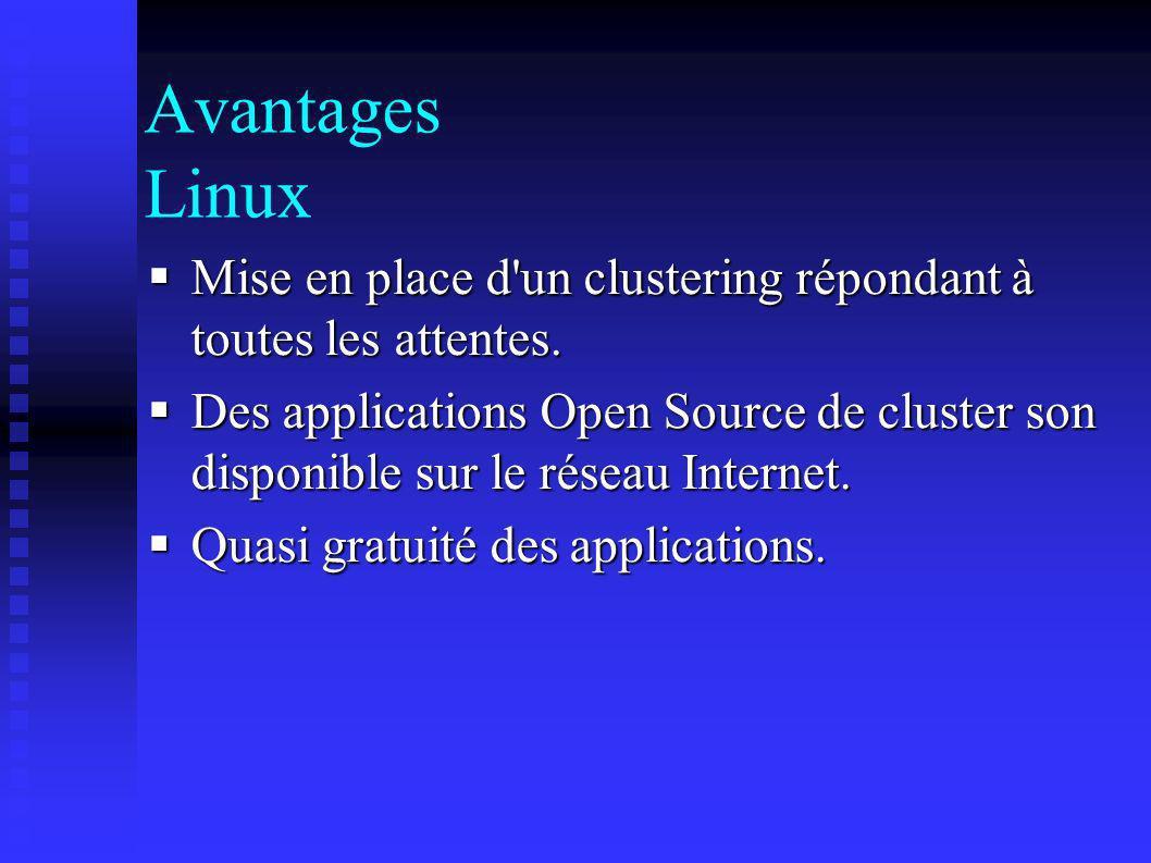 Avantages Linux Mise en place d un clustering répondant à toutes les attentes.