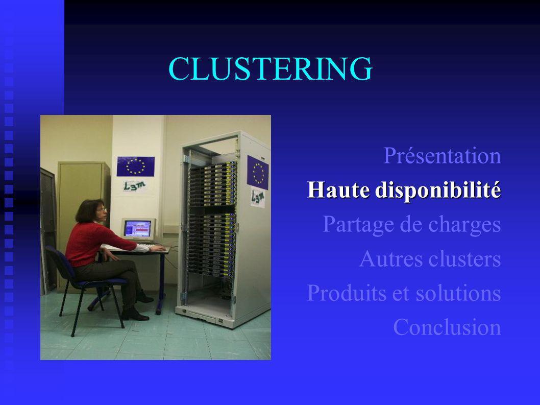 CLUSTERING Présentation Haute disponibilité Partage de charges