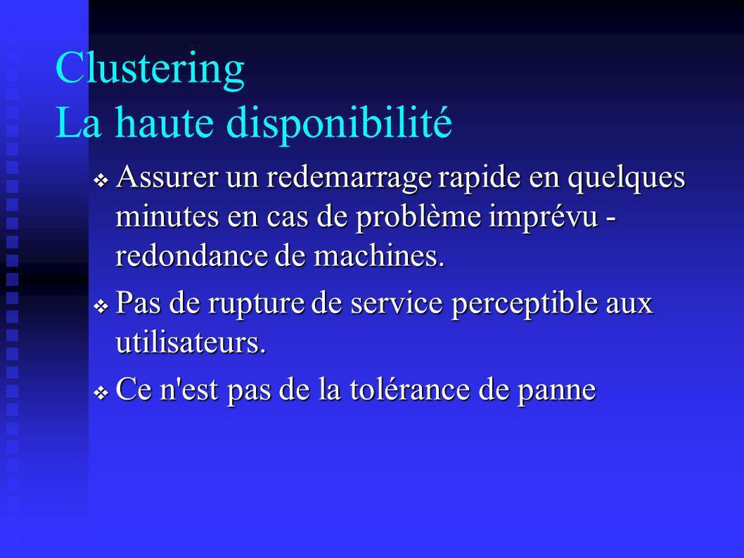 Clustering La haute disponibilité