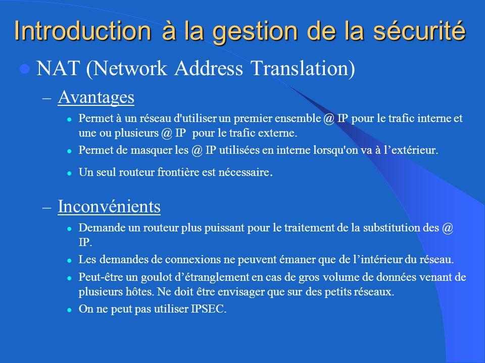 Introduction à la gestion de la sécurité