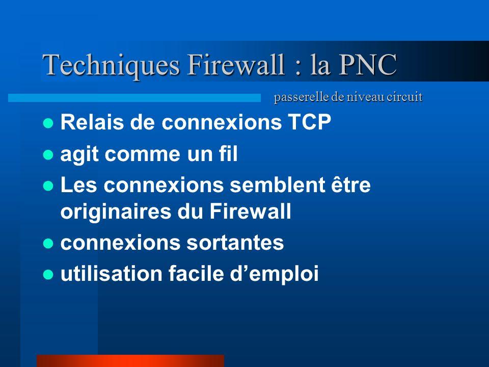 Techniques Firewall : la PNC