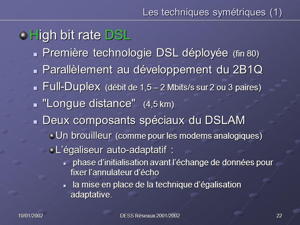 Les techniques symétriques (1)