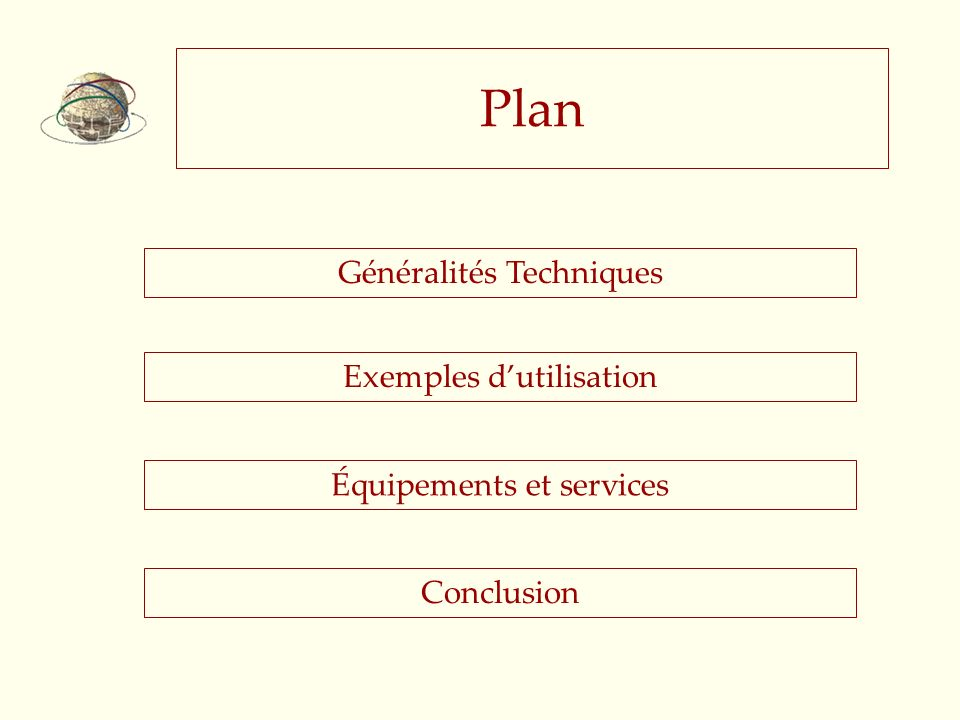 Plan Généralités Techniques Exemples d'utilisation