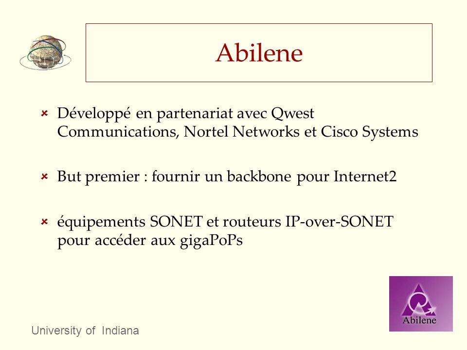 Abilene Développé en partenariat avec Qwest Communications, Nortel Networks et Cisco Systems. But premier : fournir un backbone pour Internet2.