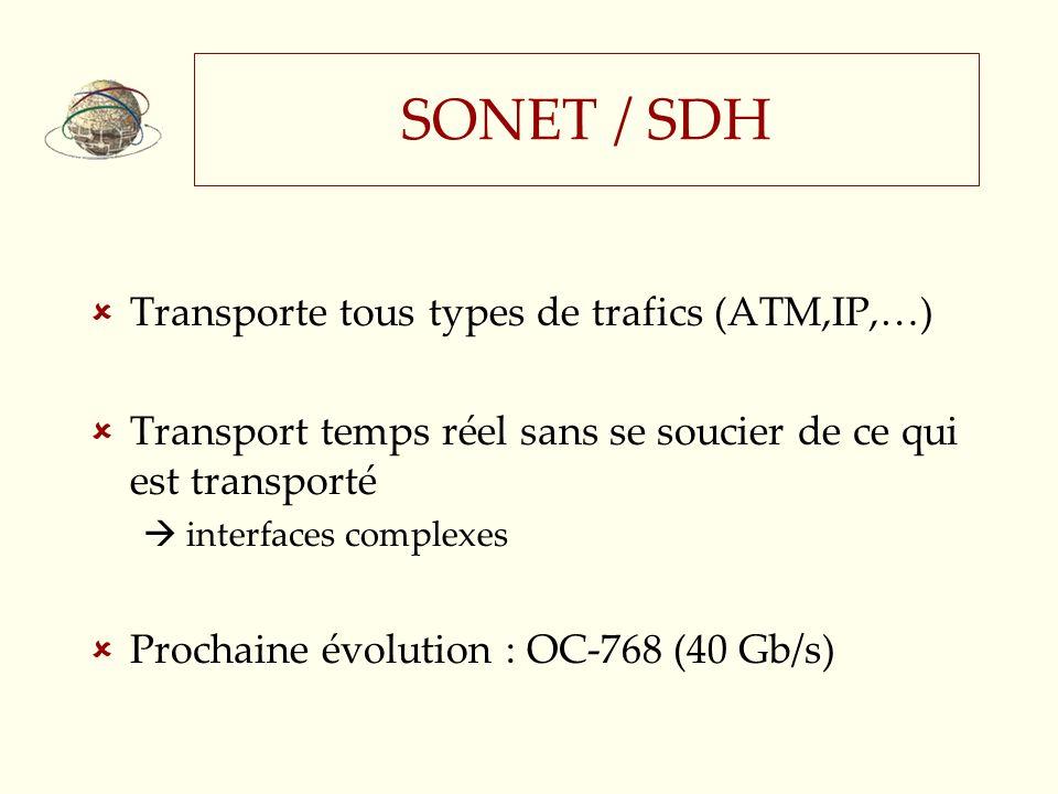SONET / SDH Transporte tous types de trafics (ATM,IP,…)