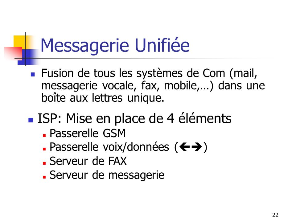 Messagerie Unifiée ISP: Mise en place de 4 éléments
