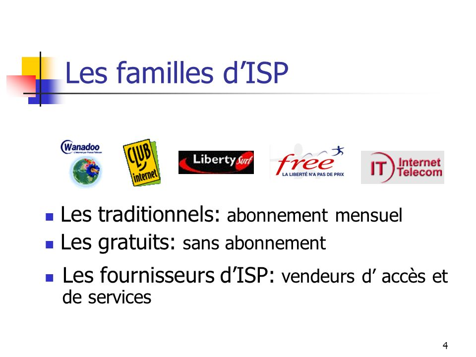 Les familles d'ISP Les traditionnels: abonnement mensuel