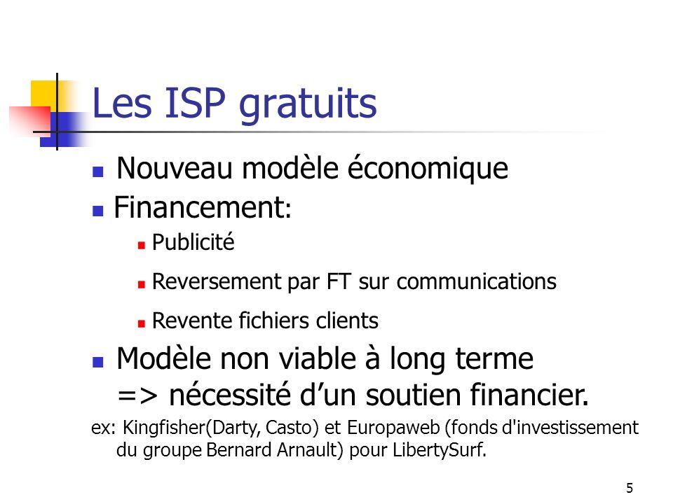 Les ISP gratuits Nouveau modèle économique Financement: