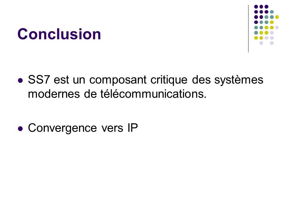 Conclusion SS7 est un composant critique des systèmes modernes de télécommunications.