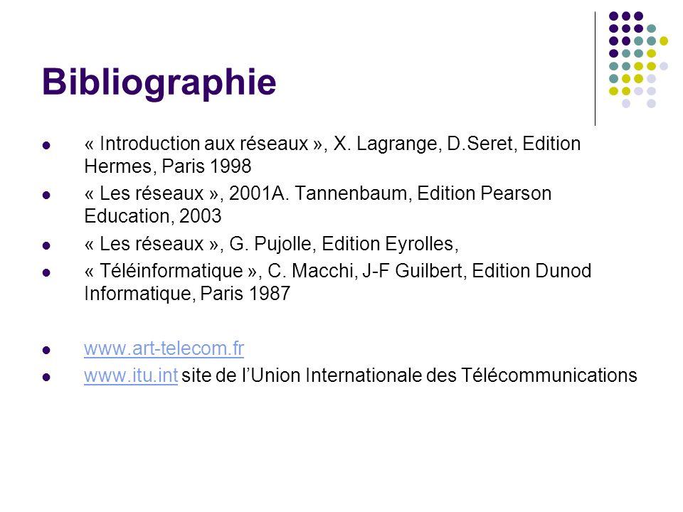Bibliographie « Introduction aux réseaux », X. Lagrange, D.Seret, Edition Hermes, Paris 1998.