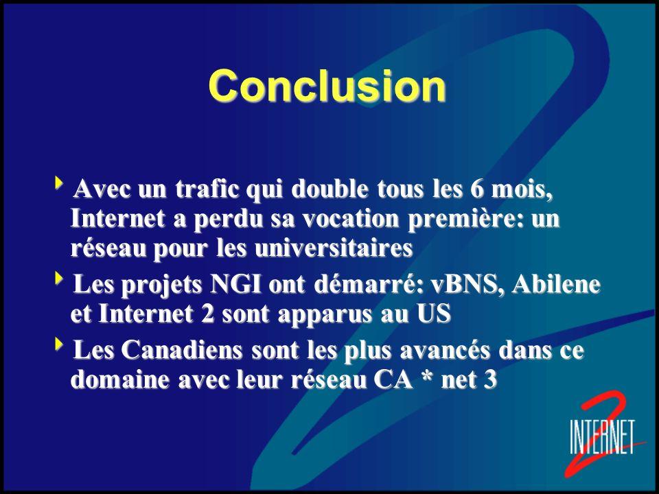 Conclusion Avec un trafic qui double tous les 6 mois, Internet a perdu sa vocation première: un réseau pour les universitaires.