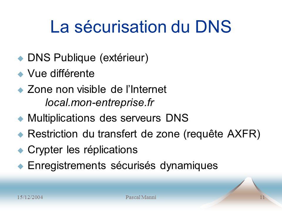 La sécurisation du DNS DNS Publique (extérieur) Vue différente