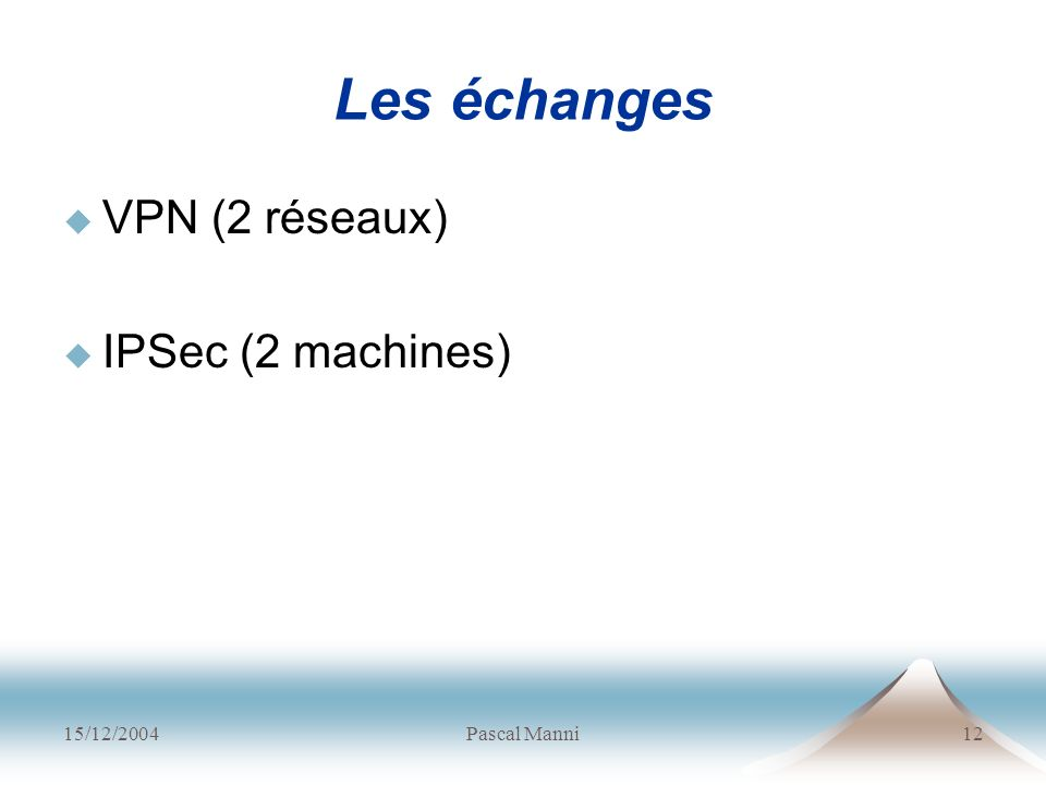 Les échanges VPN (2 réseaux) IPSec (2 machines) 15/12/2004