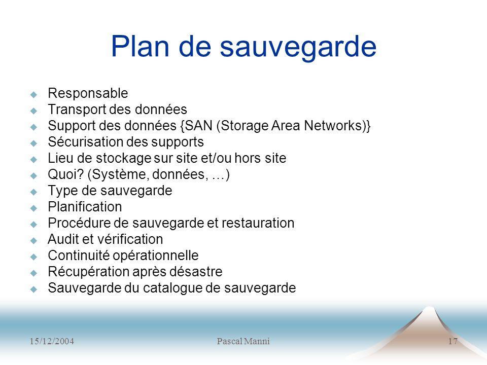 Plan de sauvegarde Responsable Transport des données