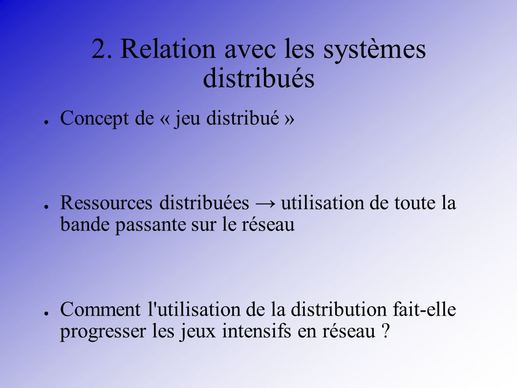 2. Relation avec les systèmes distribués