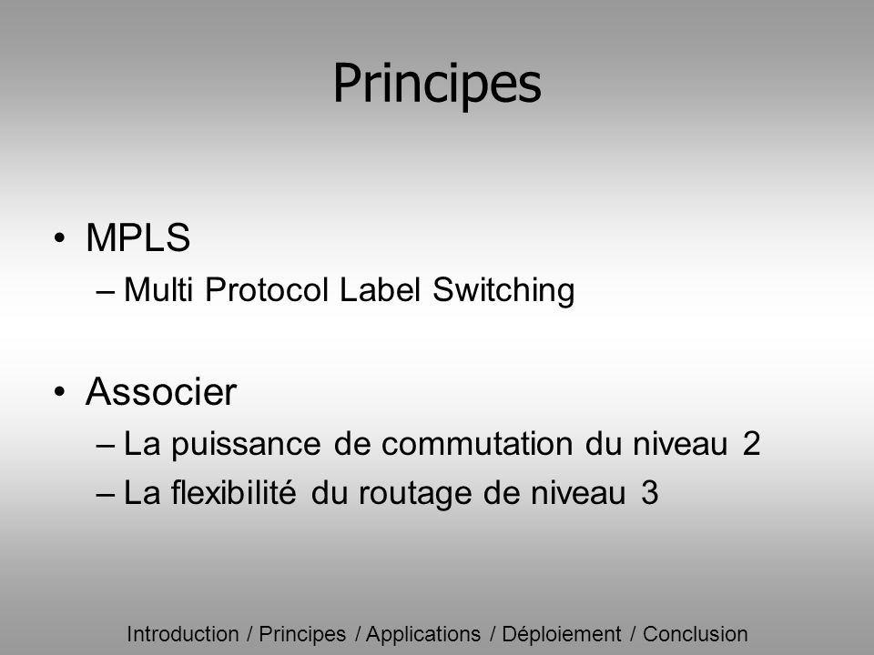 Principes MPLS Associer Multi Protocol Label Switching