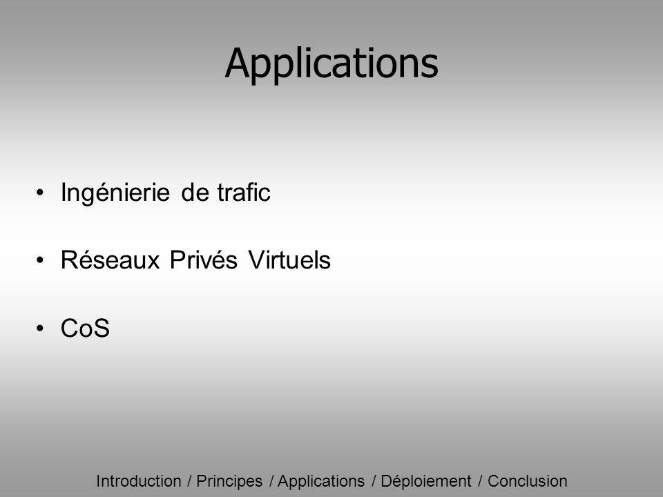 Applications Ingénierie de trafic Réseaux Privés Virtuels CoS