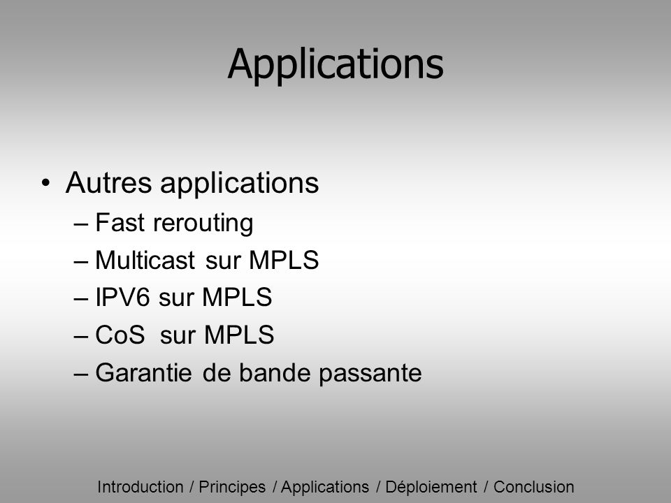Applications Autres applications Fast rerouting Multicast sur MPLS