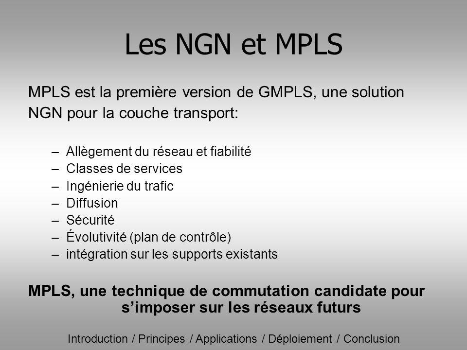 Les NGN et MPLS MPLS est la première version de GMPLS, une solution