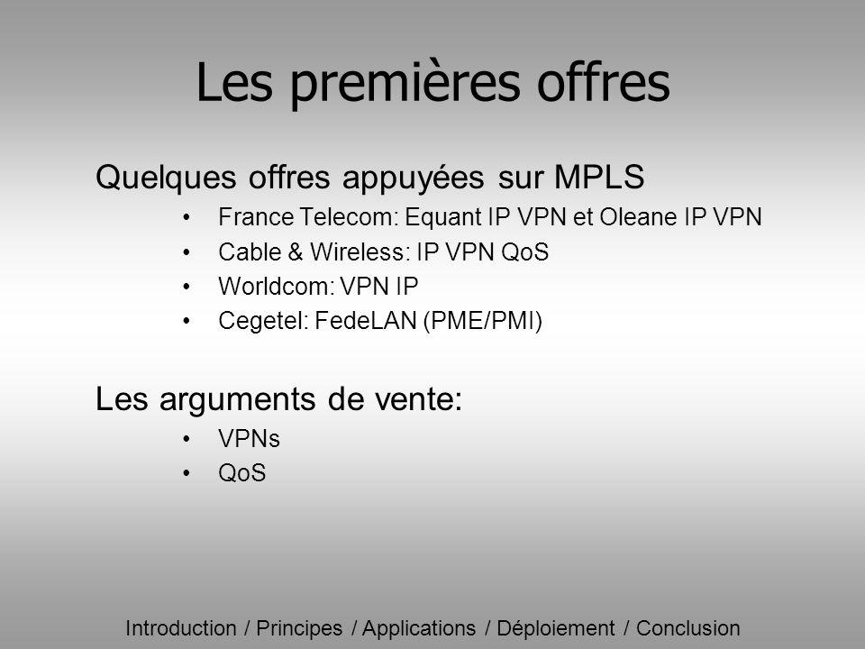 Les premières offres Quelques offres appuyées sur MPLS