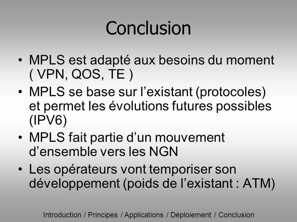 Conclusion MPLS est adapté aux besoins du moment ( VPN, QOS, TE )