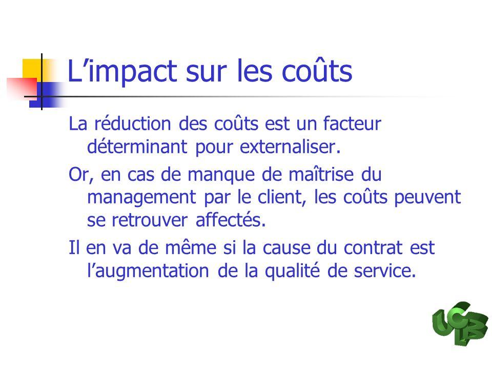L'impact sur les coûts La réduction des coûts est un facteur déterminant pour externaliser.