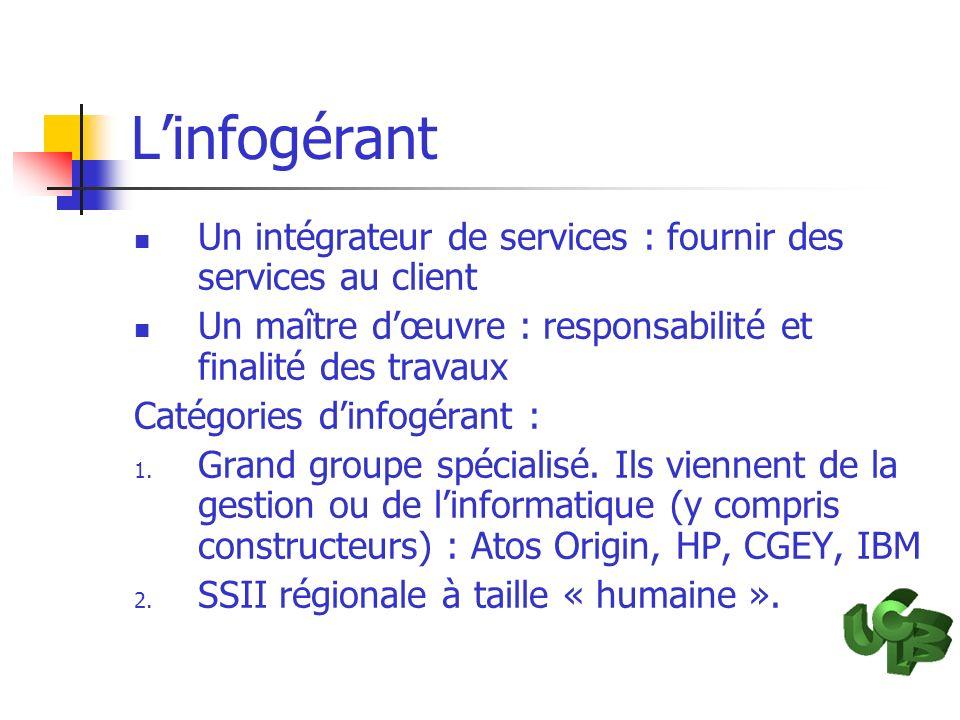 L'infogérant Un intégrateur de services : fournir des services au client. Un maître d'œuvre : responsabilité et finalité des travaux.