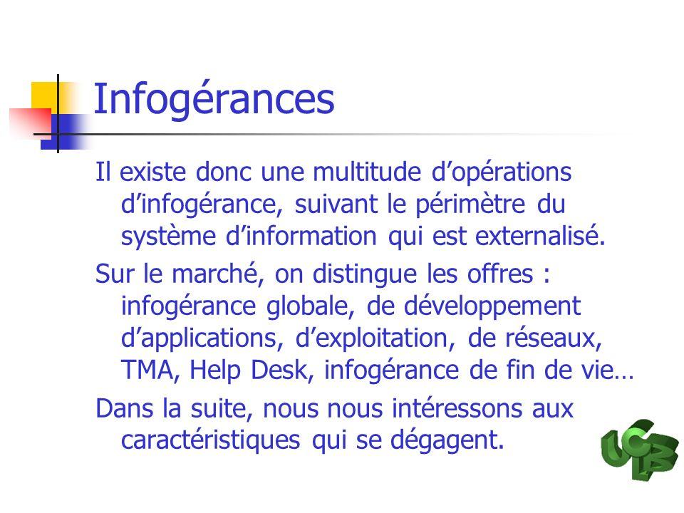 Infogérances Il existe donc une multitude d'opérations d'infogérance, suivant le périmètre du système d'information qui est externalisé.