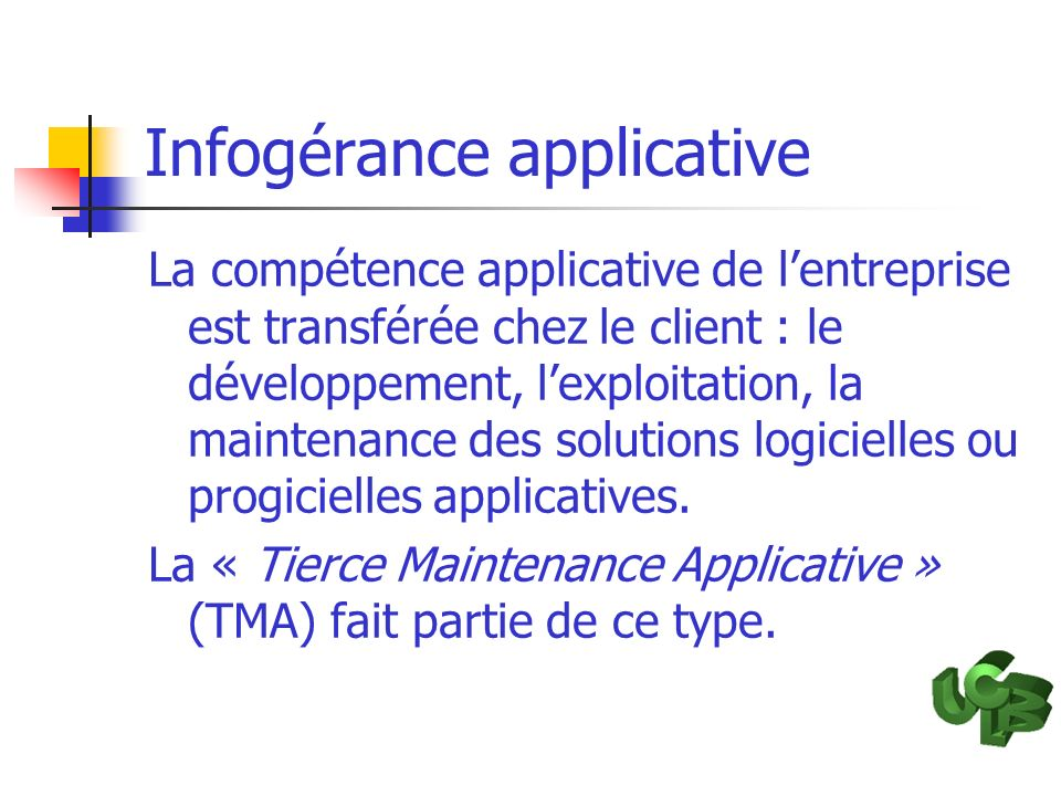 Infogérance applicative
