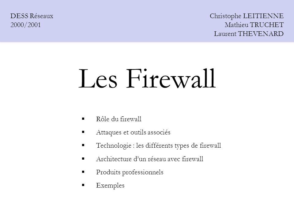 Les Firewall DESS Réseaux 2000/2001