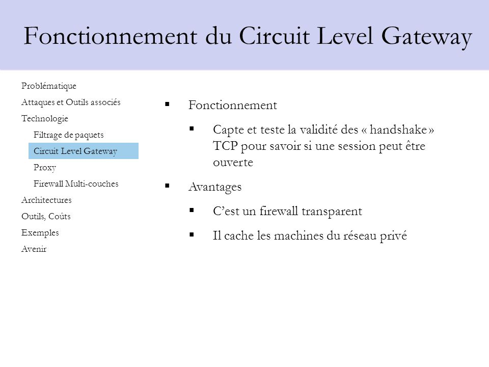 Fonctionnement du Circuit Level Gateway