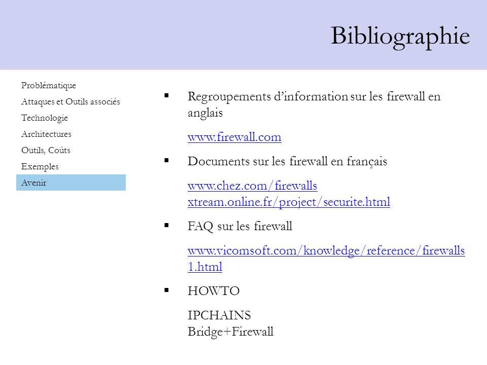 Bibliographie Regroupements d'information sur les firewall en anglais