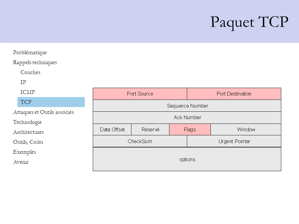 Paquet TCP Problématique Rappels techniques Couches IP ICMP TCP